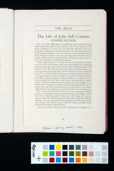 *The Life of John Sell Cotman* by Sydney Decimus Kitson.
