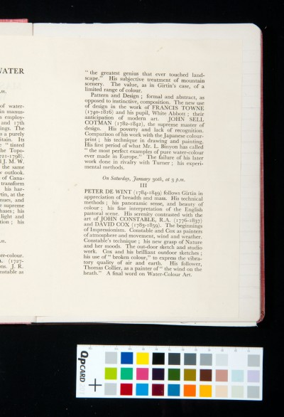 'Masters of English Watercolour'. Three Lectures on Masters of English Watercolour by Martin Hardie C.B.E., R.E., R.S.W. Late Keeper of the Dept. of Paintings in the Victoria and Albert Museum. Saturdays 16, 23, 30 January, 1937.