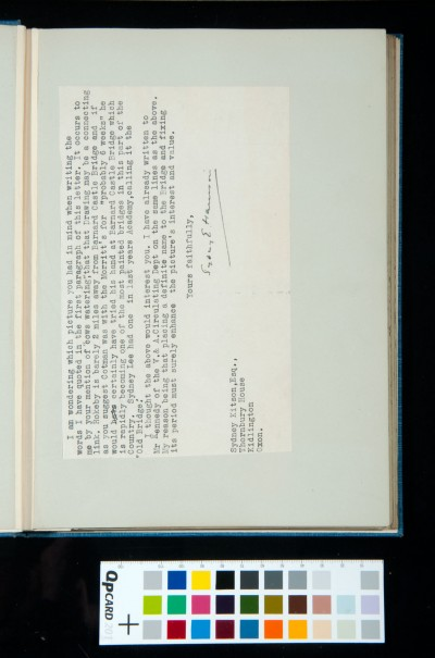 Letter to Sydney Decimus Kitson, from Sydney E. Harrison, Curator of the Bowes Museum