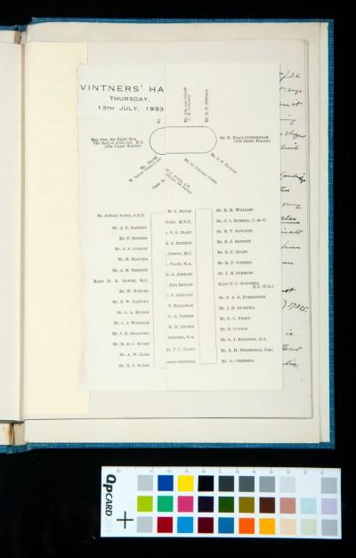 Seating plan, Vintners' Hall, 13 July 1933 (1)