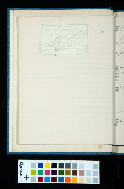 Sketch illustrating no. 16 (*Mountain Scene in Wales*) on facing page