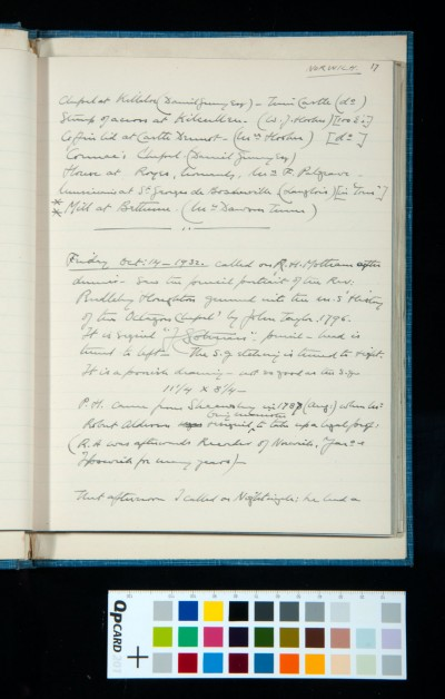 Colman collection at Crown Point (17) and visit to R. H. Mottram (14 Oct. 1932) to see his pencil portrait of the Rev. Pendlebury Houghton