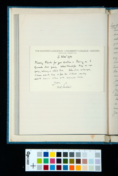 Postcard from Sir Michael Sadler, 6 Nov. 1932