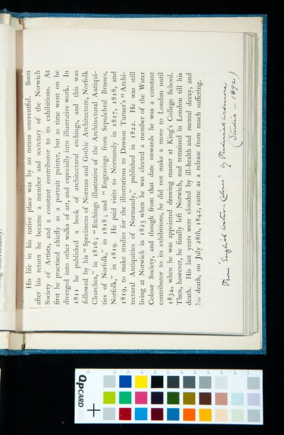 Entry for 'John Sell Cotman' in Frederick Wedmore's introduction to *English Water-Colours* (Studio, 1892) (2)