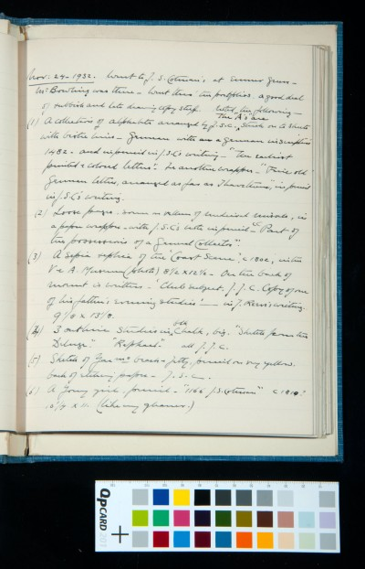 Visit to collection of John S. Cotman at Emmer Green (Reading), 24 Nov. 1932 (1)