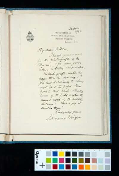 Letter to Kitson from Laurence Binyon, 26 Dec. 1932, concerning a photograph of a Cotman owned by SDK