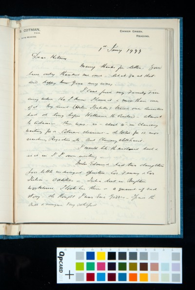 Letter to Kitson from John Sell Cotman of Reading concerning his family tree, 1 Jan. 1933 (1)