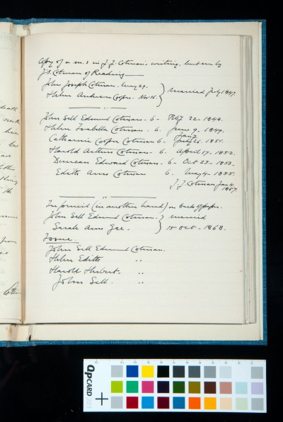 Transcription of notes by J. J. Cotman on his marriage and descendants