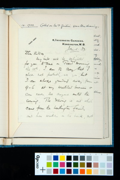 Letter to Kitson from T. Girtin, 1 Jan. 1933, concerning a drawing (owned by him) by Thomas Girtin or perhaps Cotman (1)