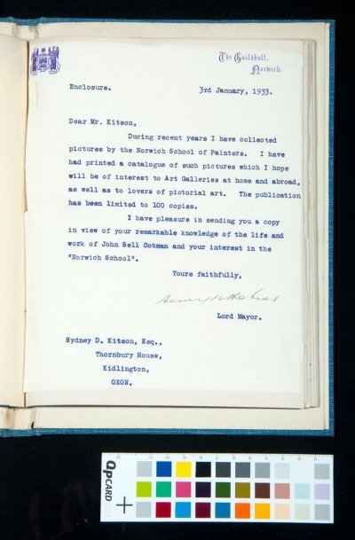 Letter to Kitson from Henry Holmes, Lord Mayor of Norwich, enclosing the catalogue of his collection of pictures by the Norwich School, 3 Jan. 1933
