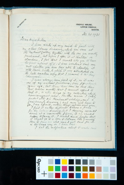 Letter to Kitson from H. F. Wilson, offering a Cotman drawing, 30 Dec. 1931 (1)