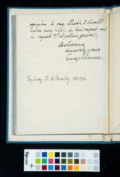 Letter to Kitson from George Clausen, suggesting a visit to see his portrait of Sir Raymond Unwin, 12 Feb. 1933 (2)
