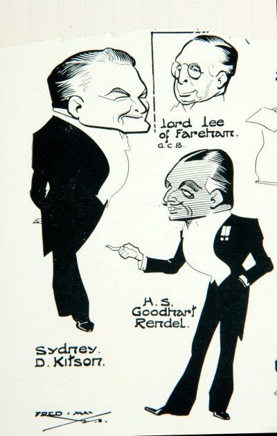 Sketches of those present at the RIBA annual dinner held on 3 March 1933, from the *Architects' Journal*, 8 March 1933 (2): detail showing Kitson