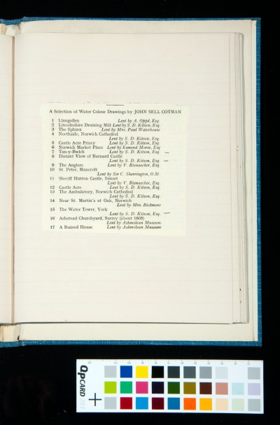 17 watercolours by Cotman from the catalogue of the exhibition of the Oxford Art Society, 21 March-20 April 1933, with titles and names of owners