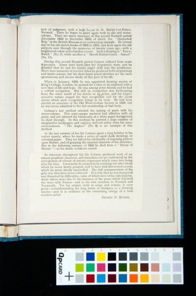 Kitson's essay on Cotman in the catalogue of the exhibition of the Oxford Art Society, 21 March-20 April 1933 (4)