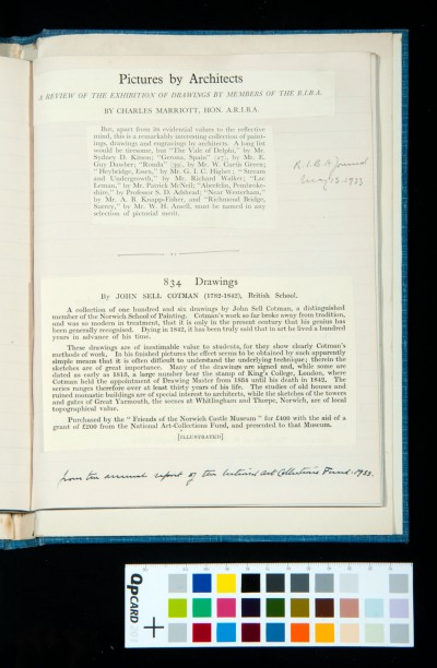 Exhibition of Pictures by Architects (including one by Kitson): cutting from the *RIBA Journal*, 13 May 1933 / Purchase of 106 drawings of J. S. Cotman by the Friends of the Norwich Castle Museum: cutting from the annual report of the National Art Collections Fund, 1933