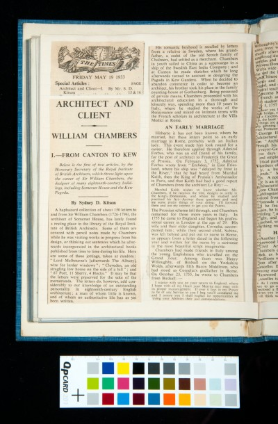 Kitson's two articles in *The Times* on William Chambers, 19 and 20 May 1933 (1)