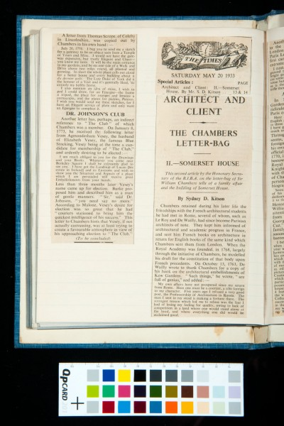 Kitson's two articles in *The Times* on William Chambers, 19 and 20 May 1933 (3)