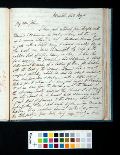 Letter of Arthur Dixon to John Joseph Cotman, 21 May 1834