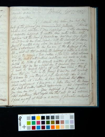 Letter of Arthur Dixon to John Joseph Cotman, 22 September 1834